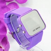 auto folding mirrors - fashion Jelly Watch LED Watch Mirror silicone watch for male girl child The new popular