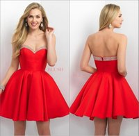 Wholesale Red Knee Length Homecoming Dresses Blush Satin Beaded Sweetheart Neckline Short A line Zipper Formal Cocktail Party Girl Dress Gowns