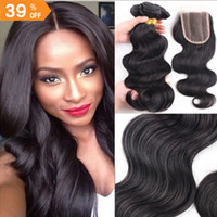 Wholesale Brazilian Hair Body Wave Human Hair Weaves With Free Part Lace Closure Unprocessed Natural Color Natural Straight Virgin Hair