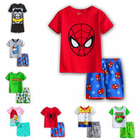 Wholesale Kids Cartoon Summer Set Short Sleeve Pajama Set Baby Boys Superman Pajamas Batman Sleepwear Kids Short Clothes Set Styles