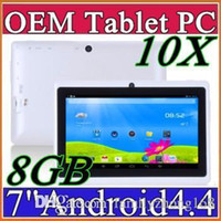 Wholesale 10X DHL A33 Q88 Allwinner A23 inch quad core Tablet PC Capacitive Android KitKat MB GB WIFI dual Camera GHz Tablet PC A PB