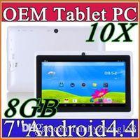 Precio de Dhl de la tableta de 8 gb-DHL A33 Allwinner A23 Q88 10 veces más de cuatro núcleos de 7 pulgadas Tablet PC capacitiva Android 4.4 KitKat 512MB 8GB WIFI de doble cámara de 1,5 GHz Tablet PC A-7PB