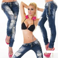Wholesale 2016 new push up sexy and cool women hole pencil pants jeans full length low waistline style skinny casual jeans