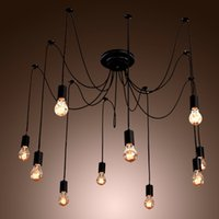 Wholesale Black Spider Chandelier Lamp Vintage Retro Pendant Lamps E27 E26 Edison Creative Loft Art Decorative DIY Chandelier Light