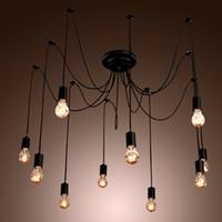 art spiders - Black Spider Chandelier Lamp Vintage Retro Pendant Lamps E27 E26 Edison Creative Loft Art Decorative DIY Chandelier Light