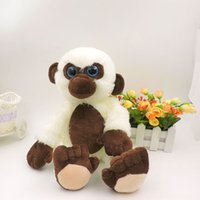ape monkey - 35CM Big Eyes White Chimp Plush Stuffed Animals Gorilla Monkey Soft Toys Brown Belly Long Tail Ape Children Kids Gifts