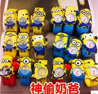 Wholesale Hot Silicone Slap Boy Girls Wristwatch Despicable Me Kids Yellow Minion Watch Children D Cartoon watches DHL