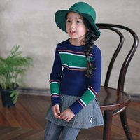Wholesale 2016 Autumn Winter New Kids Girls Striped Pullover Sweaters Cotton Rabbit Hair Blends Softening Children Clothing Full of Elastic
