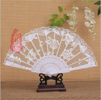 Wholesale Rose Flowers Lace Fans Cheap Online Bridal Hand Fans Classical Folded Fan Party Bridal Wedding Favors Bridal Accessories Gift