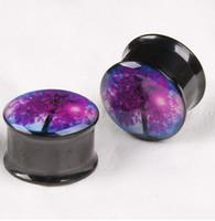 Wholesale Color Tree Ear Tunnels Piercing Jewelry Ear Expander Plugs Stretchers Mix Size Flesh Body Piercing Jewelry