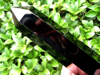 al por mayor varita de cristal de cuarzo-16-18cm Negro Grande Obsidiana Natural de cristal de cuarzo individual Terminado Varita Curación