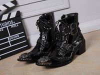 Wholesale Fashion Designer Men High Top Dress Shoes Trend Of Buckles Lace Up Short Ankle Martin Boot Leisure Leather Sneaker Pattern