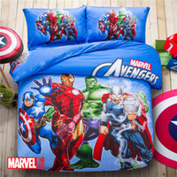 Wholesale 2016 Fashion Cheap set Nursery Bed The Avengers Cartoon doll Pure cotton Bedding Sets Queen Size Duvet Cover Bed Sheet