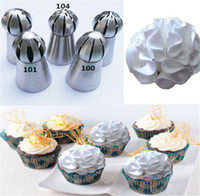 Wholesale 5Pcs Set Ball Shape Russian Icing Nozzles Stainless Steel Flower Cake Piping Sphere Bakeware Decoration Tips Pastry Kitchen Baking Tools