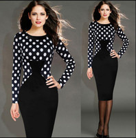 Wholesale Plus Size Womens Work Dress Business OL Party Sheath Plaid Polka Dots Pattern Pencil Dress White Black Bodycon Size S to XXL