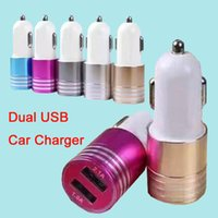 Wholesale Universal Metal USB Car Charger Mini Portable Charger Adapter For iPhone iPad Samsung S7 Huawei P9 without Package DHL Free CAB145