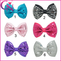 """Wholesale Small Ribbon Bow For Hair - 3"""" 30Pcs lot Mini Sequin Hair Bows Baby Girls Small Cute Hair Accessories Hair Clips Solid Ribbon Hair Bow For Children"""