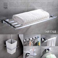 Wholesale Han Pai Brass Luxury Bathroom Accessories Wall Mounted Towel Rack Ring Holder Wall Hanger Acessorios de banheiro Set HP7768