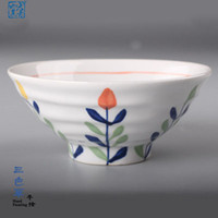 Wholesale Bowl of Japanese creative hand painted hotel tableware under the glaze color restoring ancient ways of household ceramic bowl individuality