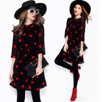 Wholesale New Summer Chiffon Dresses Women Red Lips Printing Half Sleeve Knee length Loose Casual Fashion Clothing Star Style S XL