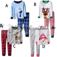 Wholesale Lovely Children cartoon Christmas Pajamas outfits Sleepwear Christmas elk suit long Sleeve Pants set santas kids Nightwear sets M276