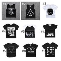 Wholesale Baby Summer T Shirts Newborn Boy Girl Letter Geometry Shirts Clothes Fashion Toddler Infants Black Cotton Tops Outfits
