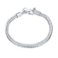 barrel cuff - Man s Women s Silver Snake Chain Sterling Silver Plated With Barrel Clasp Charms Cuff Link Bracelet Fashion Jewelry