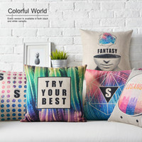 best modern sofas - Modern Fantasy Color Geometry Triangles Patterns Cushion Covers English Letters Try Your Best Pillowcase Sofa Linen Cotton Pillow Cover