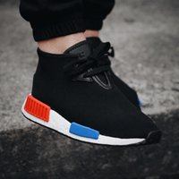 art autumn - with Box Nmd C1 Boost Chukka Men and Women Unisex High Tops Sneakers OG Black blue red Sports Shoes Winter Autumn