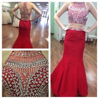 apple feedback - 100 Positive Feedback Red Two Pieces Evening Dresses With Beaded Crystal Jewel Mermaid Prom Formal Gown Pageant piece Occasion Dress