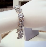 Wholesale Luxurious Women s Wedding Fine Bracelet cm Full Swarovski Crystal CZ diamond White Kt Gold
