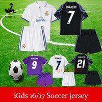 Wholesale 2016 Real madrid Kids soccer Jersey Youth Child kit RONALDO home white away Purple Sets JAMES BALE RAMOS ISCO football shirt