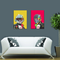 band poster printing - 2pcs Unframed Daft Punk Music Band Helmet Mask Art Print Poster Abstract Wall Picture Canvas Painting Home Decor