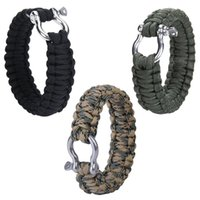 alloy shackle - Outdoor Military Paracord Survival Bracelet with Stainless Steel Bow Shackle Colors