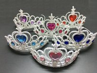 Wholesale Frozen Crown Tiara Elsa Anna Princess Crowns Heart Diamond Tiara Baby Girls Party Hair Accessories Cosplay Jewelry mixed colors