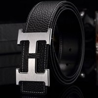belt buckle women s - High quality cowskin genuine leather designer belt for men and women brand waist Belts wtih gold or silver H buckle