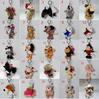 bear pendent - New inch Styles Cartoon Novelty Keyrings Animal Design Keychains Tiger Bear Dog Sheep Rabbit Monkey Zinc Alloy Ring Bag Pendent C920