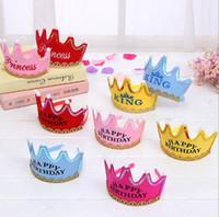 baby boy paper - 2016 Children Birthday Party Hat Multi Colors Baby Boys Girls Birthday Caps Happy Birthday for Sale