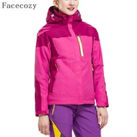 Wholesale Facecozy Women Outdoor Winter Hooded Camping Jackets Female Windproof Climbing Coat Pieces Patchwork Fishing Clothes