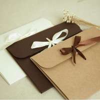 Wholesale 24x18x0 cm Simple envelope cassette Silk packaging gift box Three color ribbon packing cases