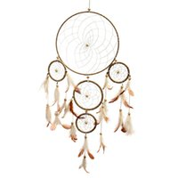 Wholesale Lovely Indiana Circular Dream Catcher Net With Feather Brown White Beads Dreamcatcher Wall Hanging Car Home Decor Gift