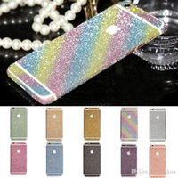 Wholesale Bling glitter Phone skin traceless Stickers For iPhone7 plus s Crystal Decal Glitter Protective Skin Sticker Wrap Full Phone Case