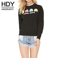 Wholesale HDY Apparel Black Cartoon Print Hoodies Crew Neck Long Sleeve Tops Streetwear Casual Loose Pullover Sweatshirt Women Clothes