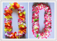 Wholesale 50pcs Hawaiian Leis Silk Flower Party Favor leis Artificial Garland Wreath Cheerleading Necklace Decoration