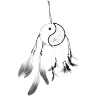 bamboo mascots - Beautiful Design Taiji Dream Catcher with Bead Feather Religious Mascot Gift Home Or Car Hanging Decoration Ornament cm