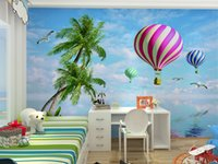 air wallpapers - Modern large scale green natural non woven wallpaper hot air balloon movie cartoon boys and girls children s room nursery shipping speed ha