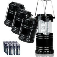 aa battery lantern - Portable Collapsible Outdoor LED Camping Lantern with AA Batteries Black Collapsible