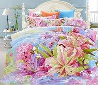al por mayor reina manta de lana tamaño-manta de algodón puro lujo molino de flores de lana de clase 4 veces shcet establecen las ropas de cama de matrimonio tamaño king