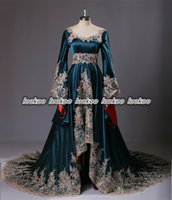 Wholesale Real Photos Custom Made Robe De Soiree Long Kanftans Long Sleeves Appliques Beads Dubai Prom Dresses Arabic Style Turkey Formal Evening Gown