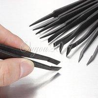 Wholesale 2015 New Arrival Black Straight Flexibility Portable Bend Anti static Plastic Tweezer Heat Resistant Repair Tool